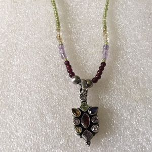 Vintage sterling multi stone necklace